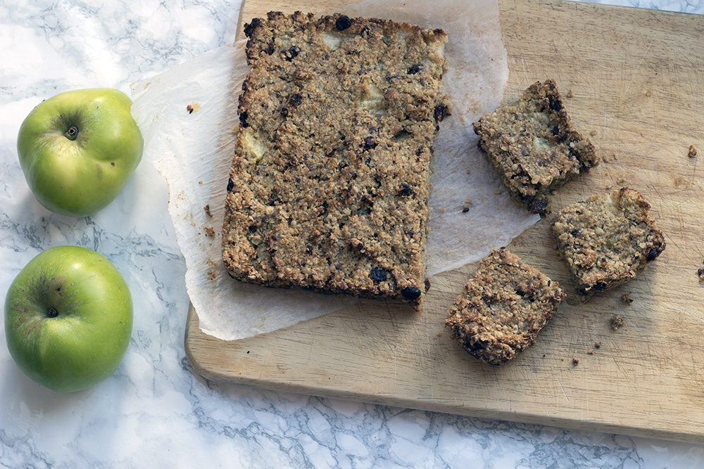 Apple flapjacks with sultanas and cinnamon