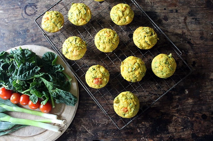 spinach cornmeal breakfast muffins