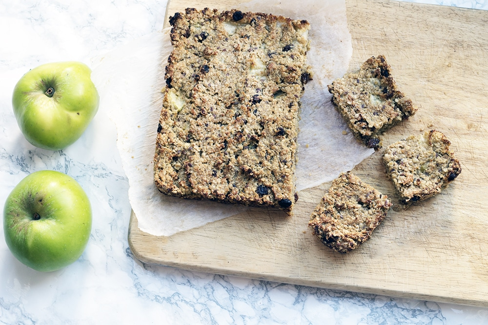 low sugar flapjacks on board with apples