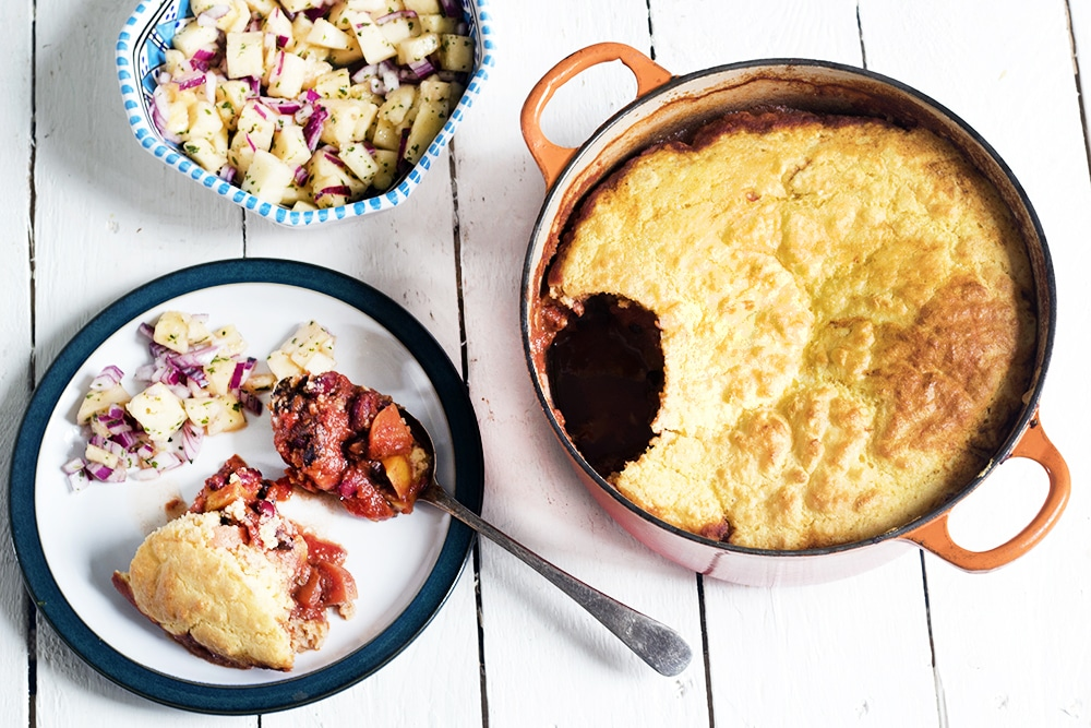 vegetarian chili with cornbread topping and pineapple salsa