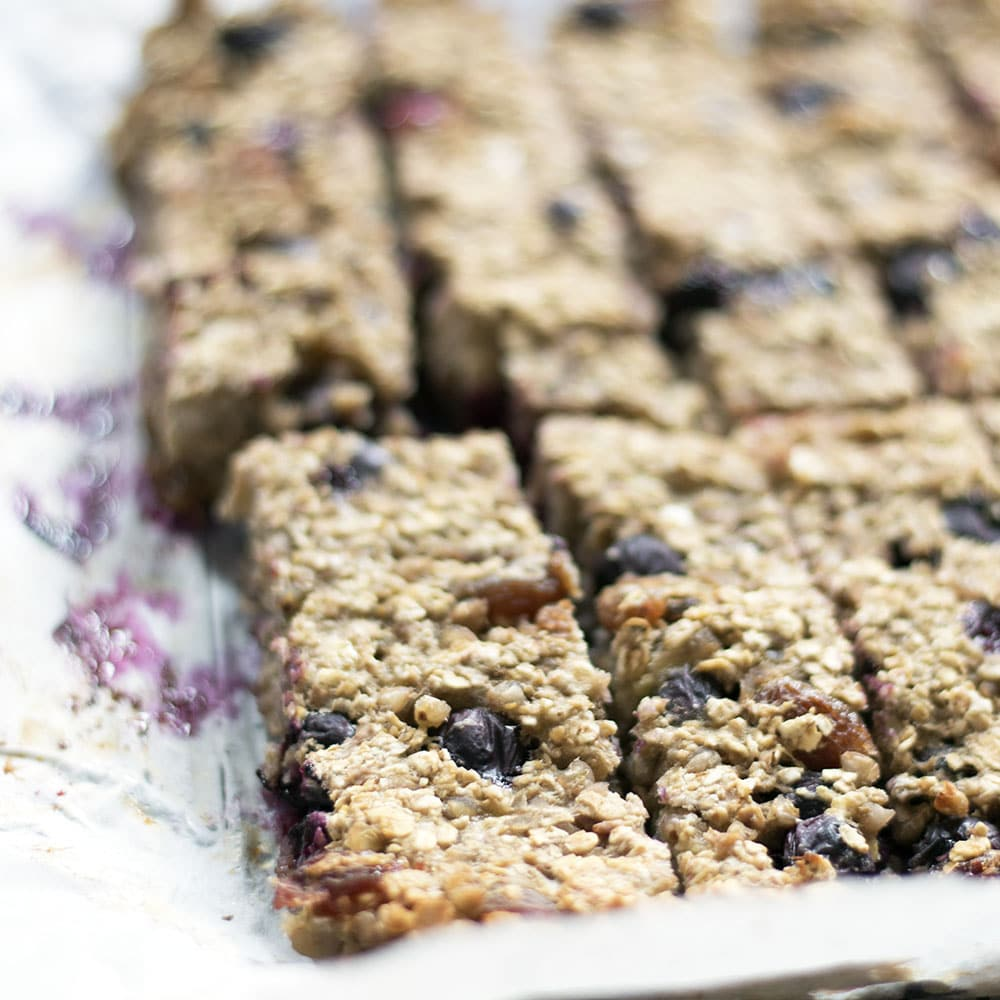 Blueberry, banana, buckwheat oaty bars