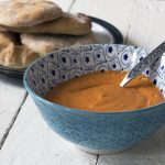 Syrian red pepper dip with yoghurt flatbreads