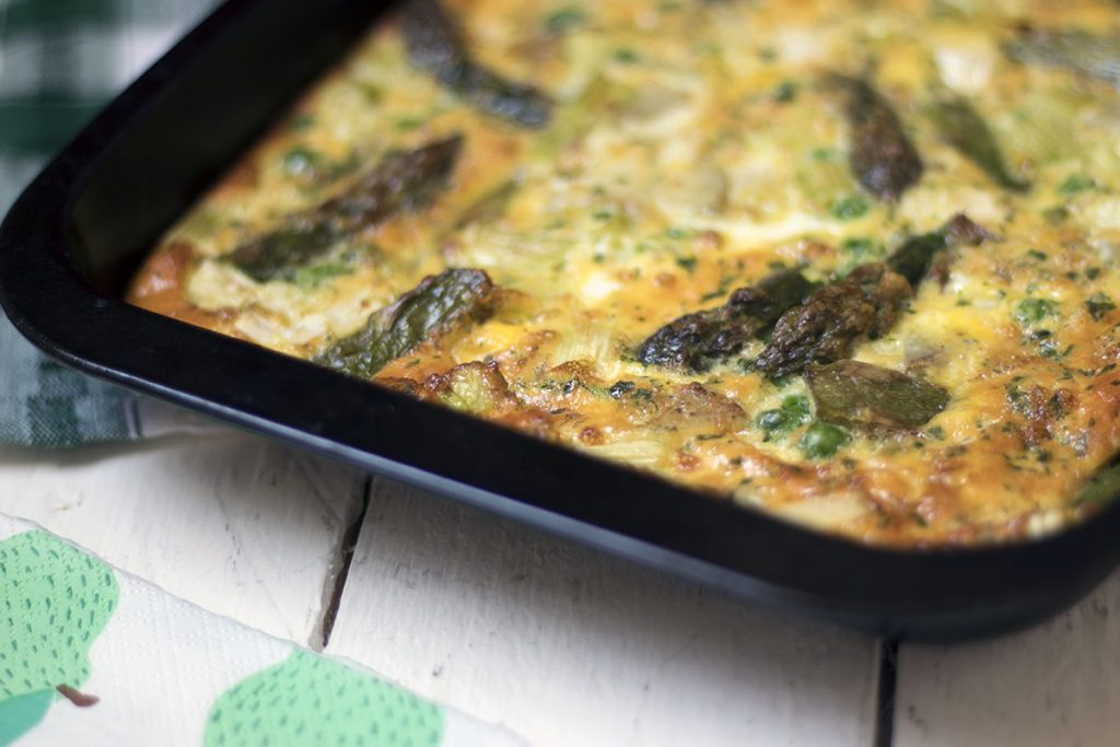 Asparagus new potato spring vegetable oven baked frittata