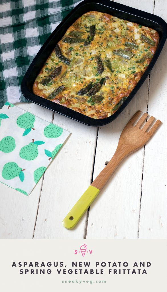 Asparagus, new potato, spring vegetable oven baked frittata