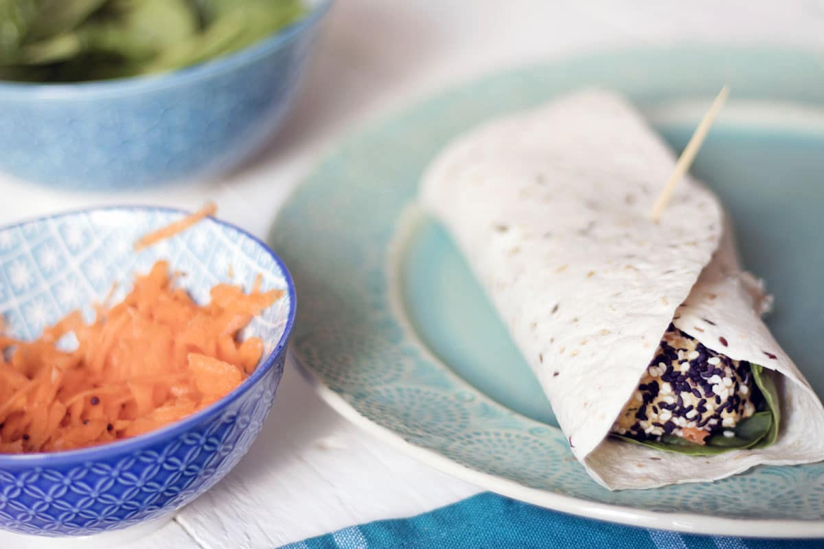 healthy carrot falafel wrap with salads