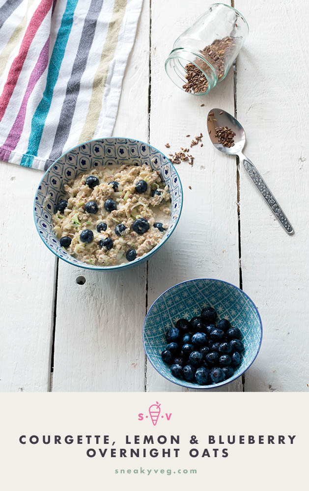 healthy overnight oats with courgette, lemon and blueberry