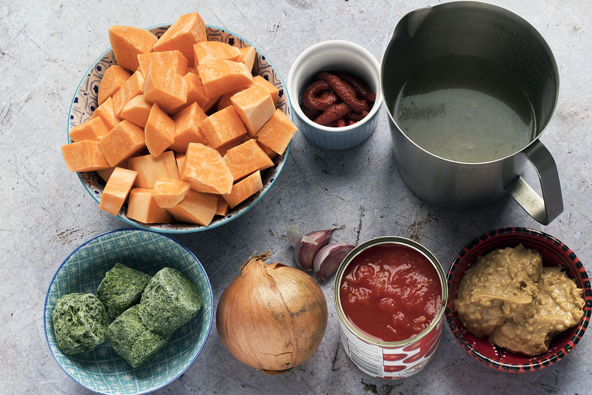 ingredients needed to make sweet potato and peanut stew
