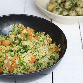 Summer vegetable pilau and herbed jersey royals
