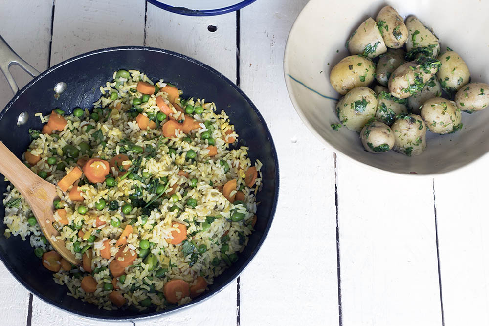 Summer vegetable pilau recipe with herbed Jersey Royal potatoes