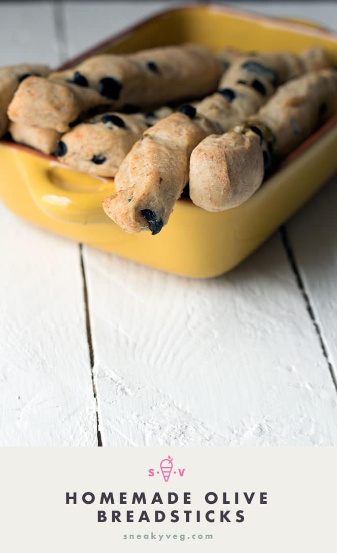 Homemade olive breadsticks
