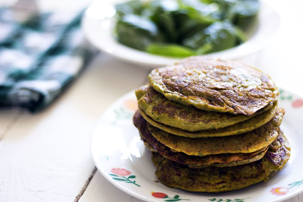 Sweet potato, spinach and ricotta pancakes