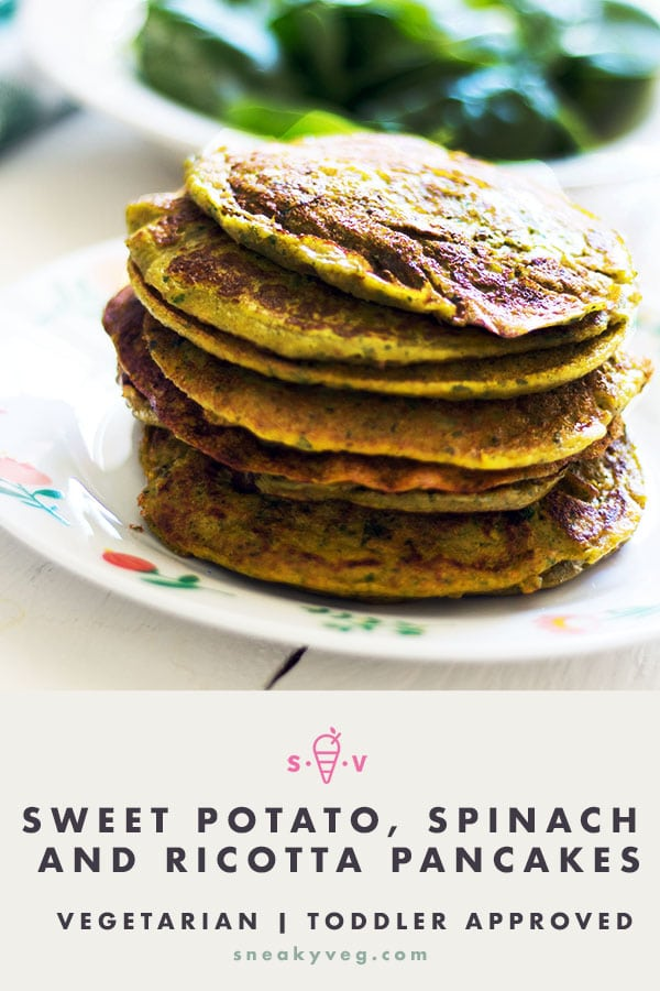 sweet potato spinach ricotta pancake stack