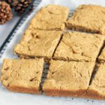 gingerbread chickpea blondies with Christmas table decorations