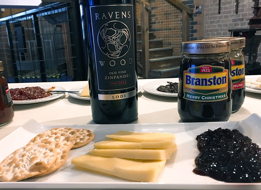 Branston Pickle with red wine and cheddar cheese