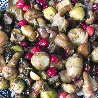 Brussels sprouts and cranberries are a tried and tested combination. Adding chestnuts and Jerusalem artichokes adds the wow factor to this vegetarian main or side dish.