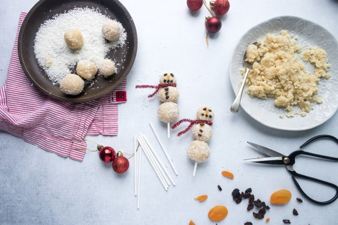 Coconut snowmen by Veggie Desserts 25 healthy Christmas treats for kids
