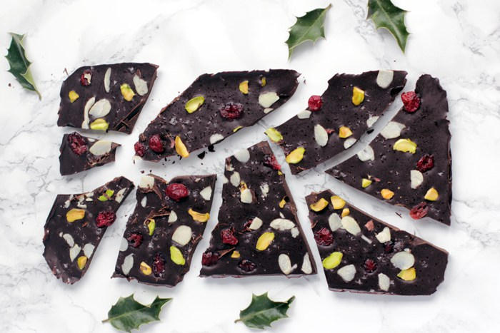 Christmas chocolate bark by The Petite Cook - 25 healthy Christmas treats for kids