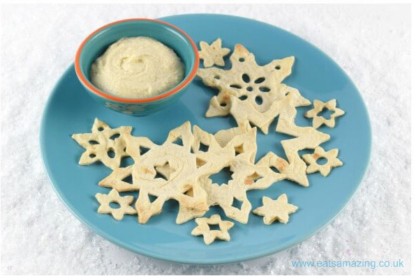 Snowflake tortilla crisps by Eats Amazing - 25 healthy Christmas treats for kids