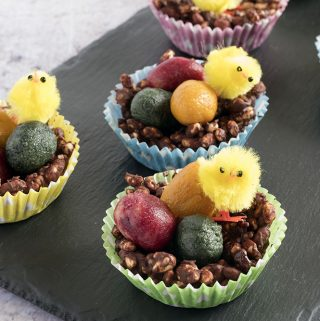 healthier chocolate rice krispie nests