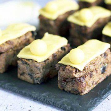 mini simnel cakes on slate plate