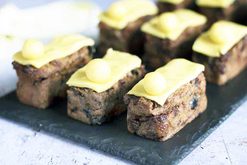 mini simnel cakes on slate plate