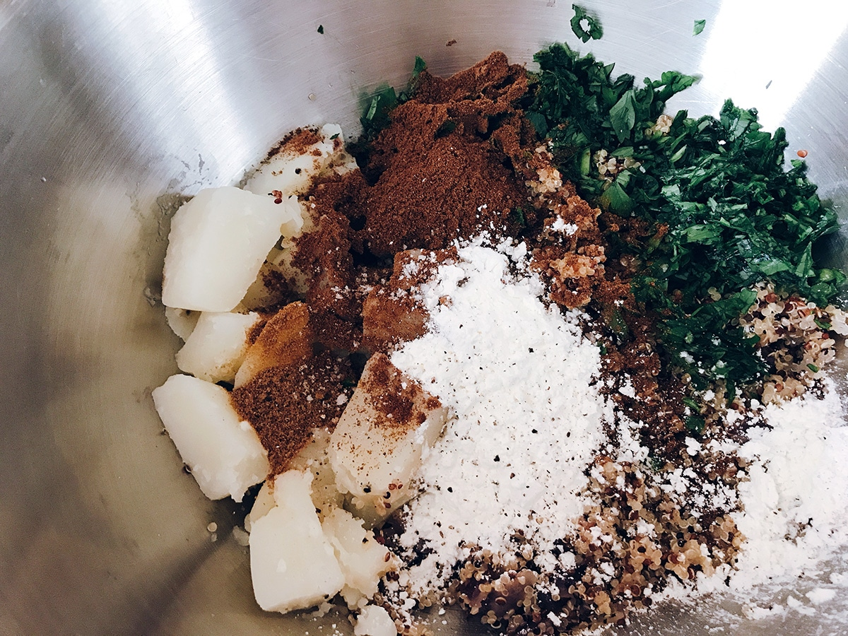 ingredients for potato quinoa burgers in bowl