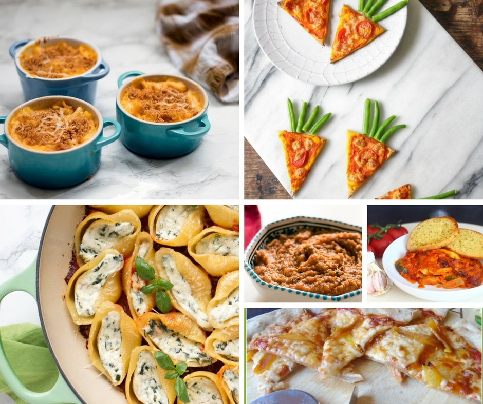 vegetarian pasta and pizza dishes