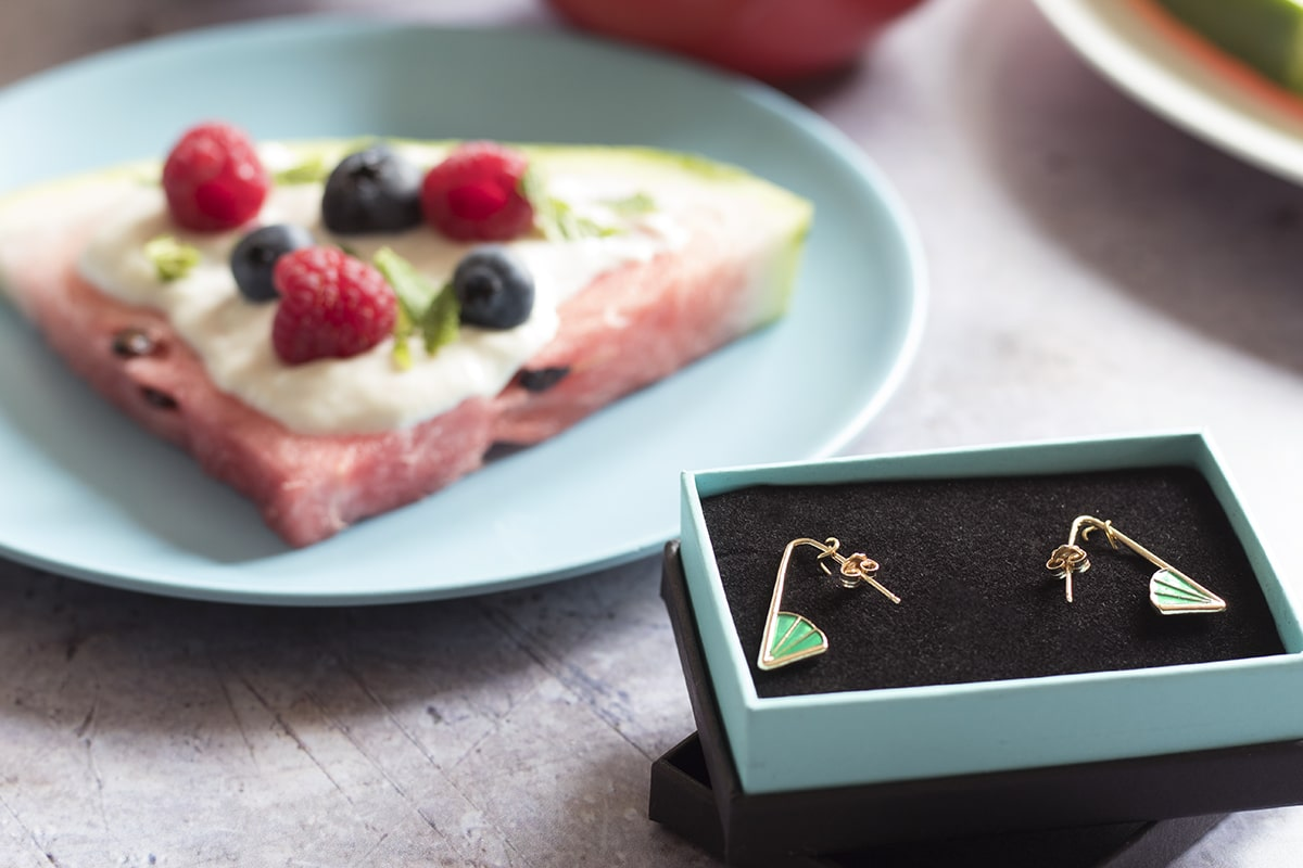 DIY watermelon pizza recipe and Little by Little Jewellery wedge angle earrings