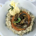 la belle assiette review - pearl barley risotto, vegan sagnaki and ratatouille