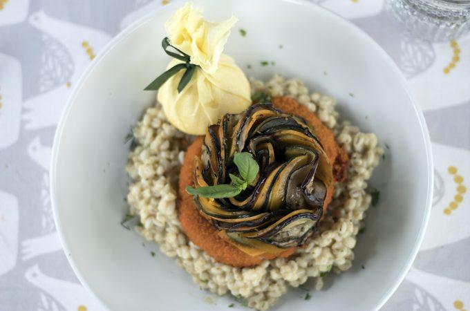la belle assiette review - pearl barley risotto, vegan sagnaki and ratatouille