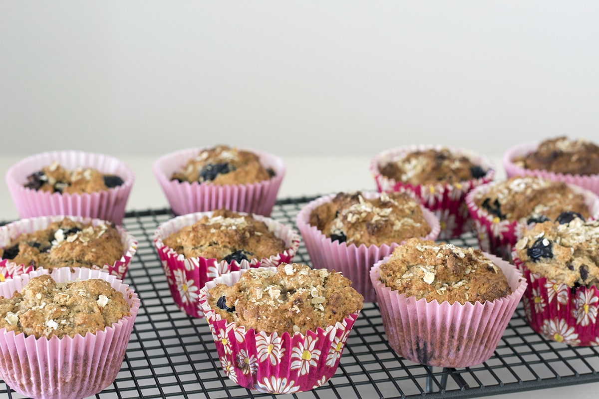 vegan banana blueberry muffins with yoghurt