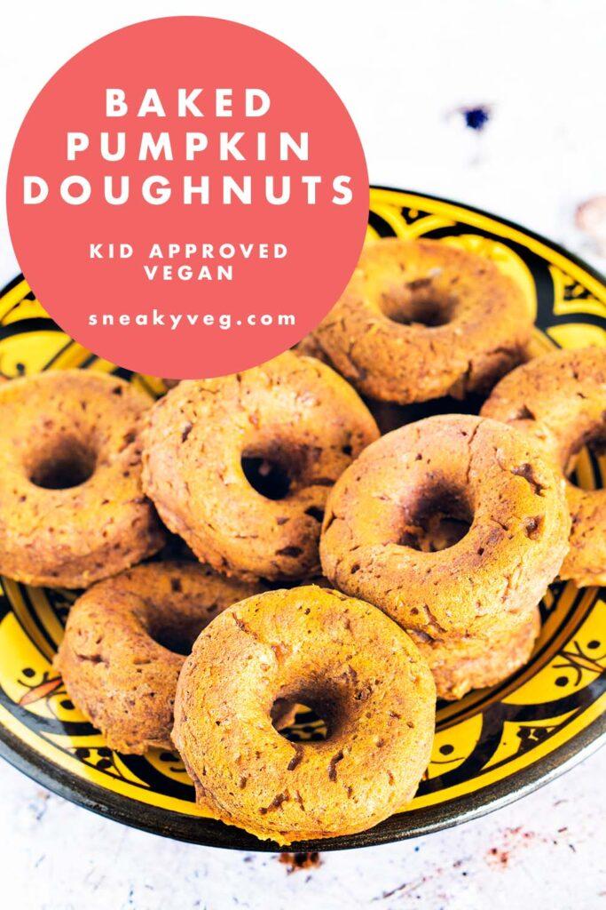 vegan pumpkin doughnuts in yellow Moroccan bowl