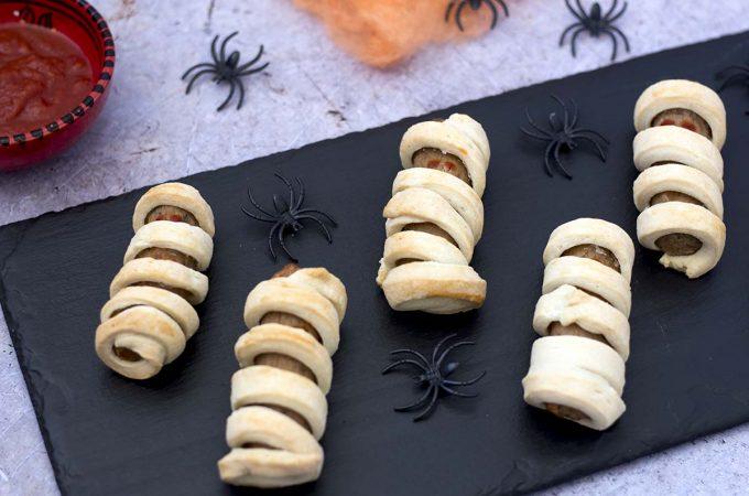 Veggie Halloween mummy sausages