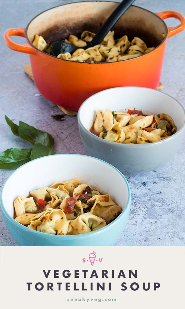 vegetarian tortellini soup recipe by Sneaky Veg