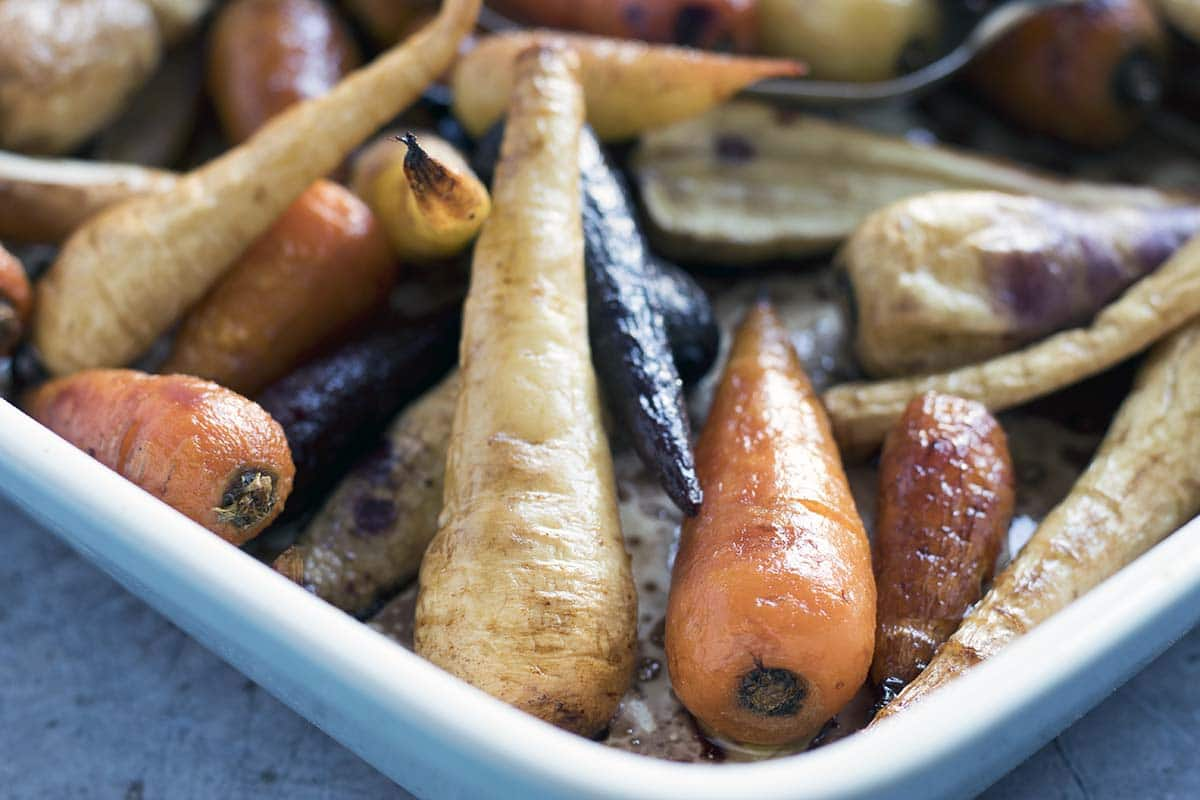 maple balsamic roasted carrots and parsnips recipe by Sneaky Veg