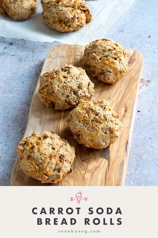carrot wholemeal soda bread rolls recipe by Sneaky Veg