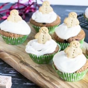 vegan healthy gingerbread muffins on board