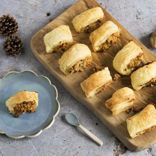 Carrot, apple and sage vegetarian sausage rolls by Sneaky Veg
