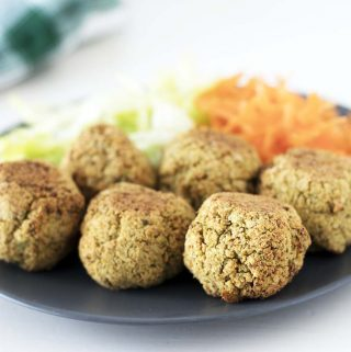 baked cauliflower falafel with salad