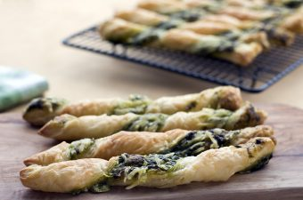 kale pesto and cheese puff pastry twists
