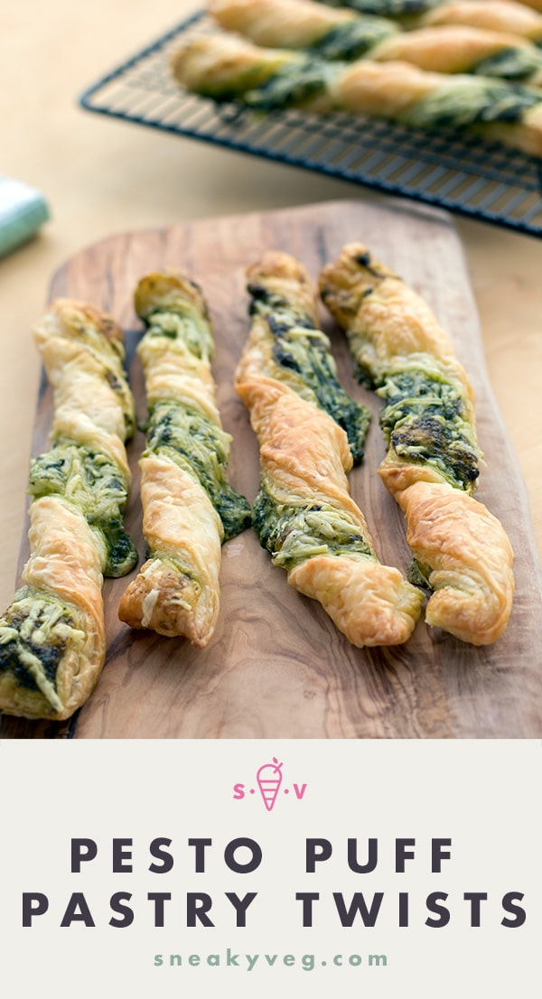 pesto puff pastry twists with cheese