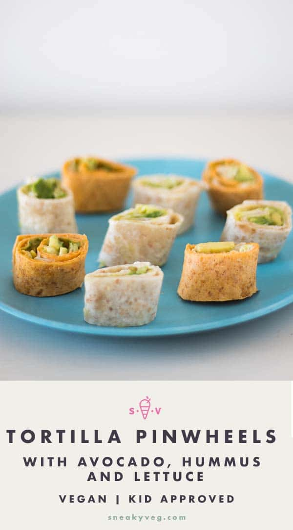 mini tortilla pinwheels on blue plate