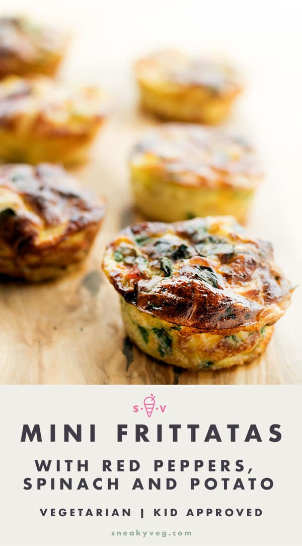 muffin tin mini frittata with red pepper, spinach and potato