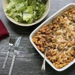 vegetarian simple sausage pasta bake with green salad