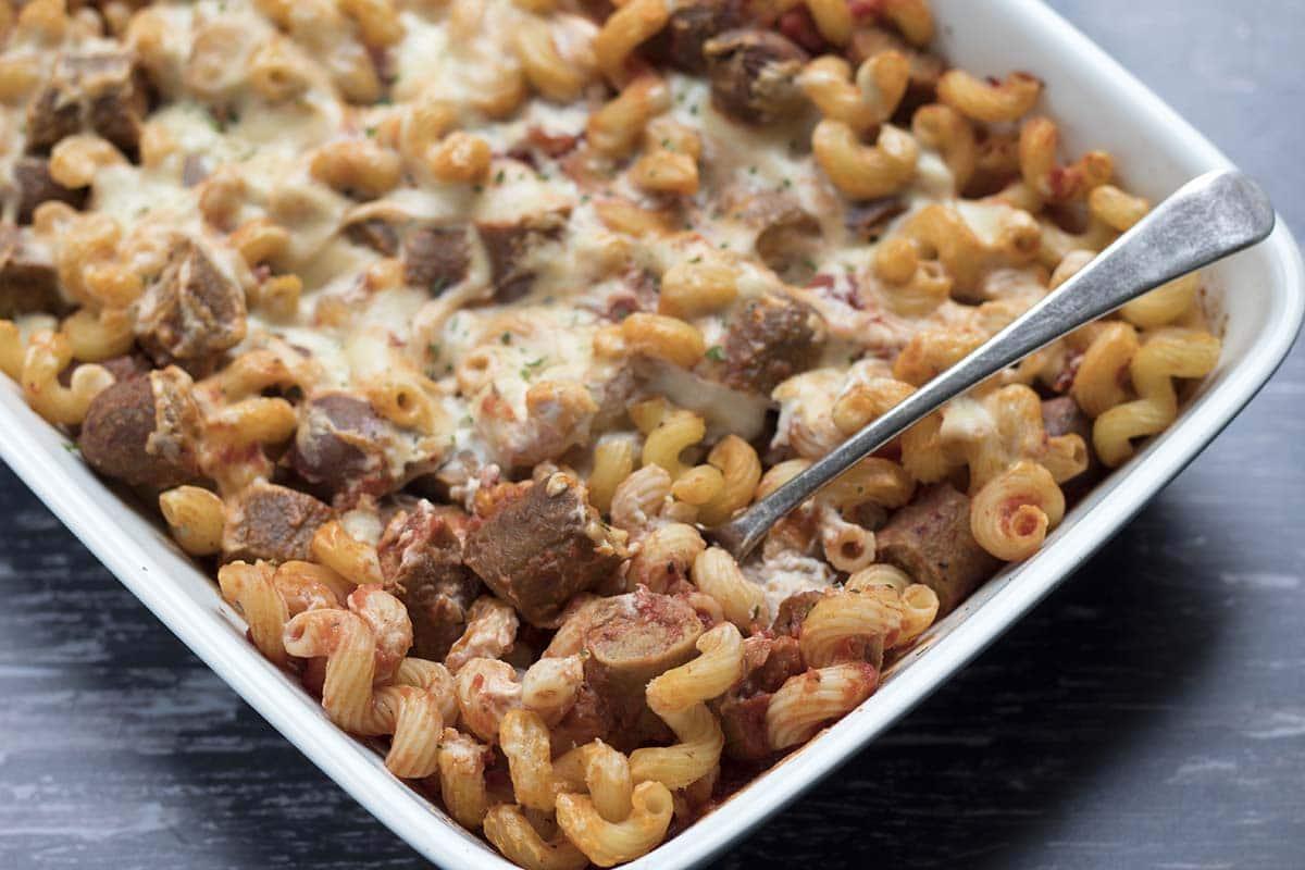 veggie sausage pasta bake
