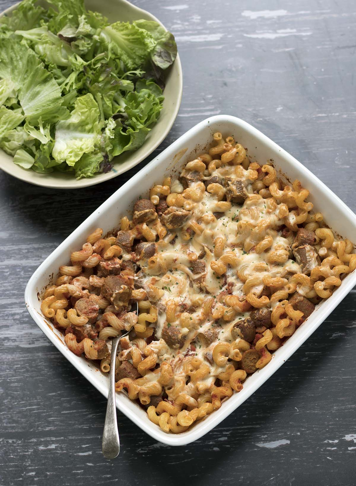easy sausage pasta bake with salad