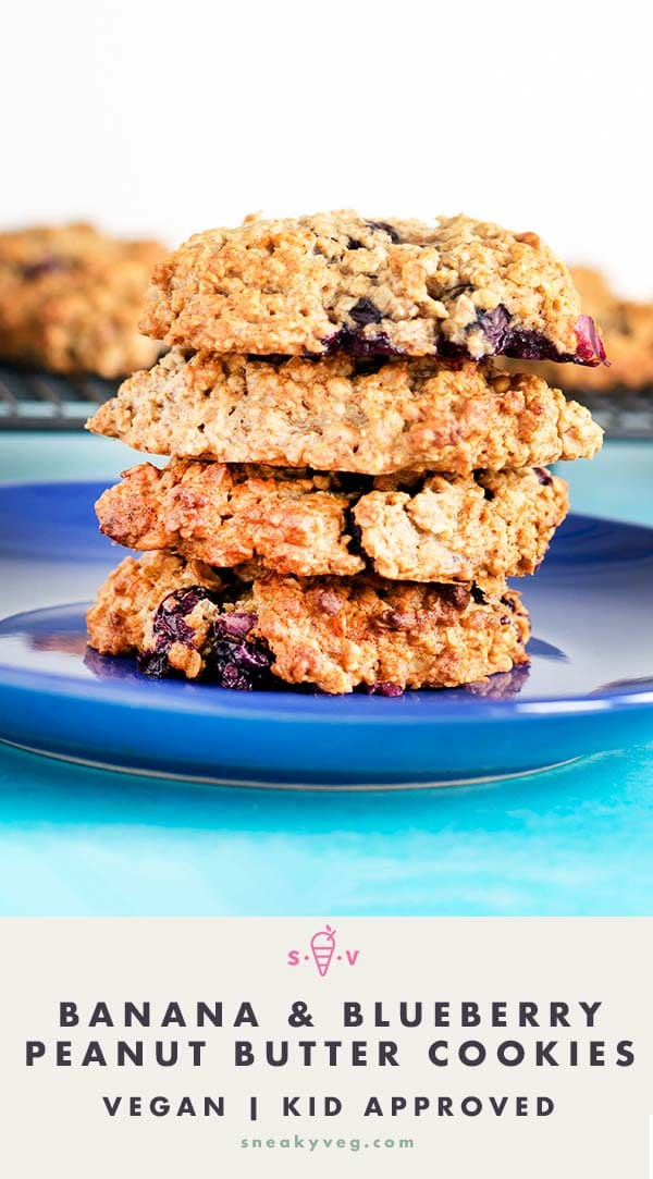 peanut butter cookies with banana and blueberry on blue plate by Sneaky Veg. Vegan.