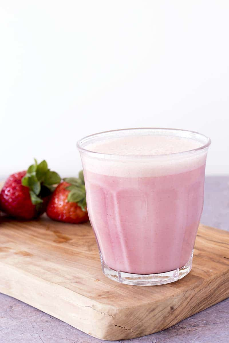healthy milkshake with strawberries