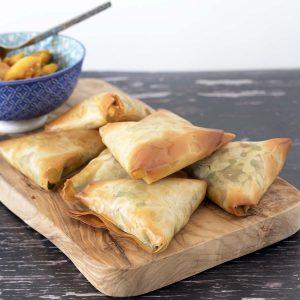 Easy vegetable filo samosas recipe on board