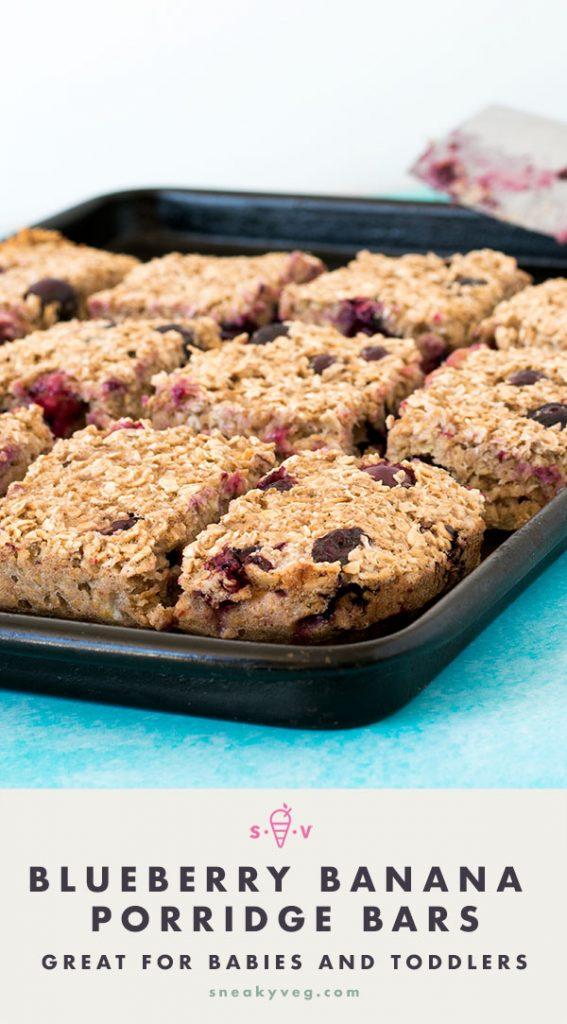 banana and blueberry porridge bars on baking tray with blue background